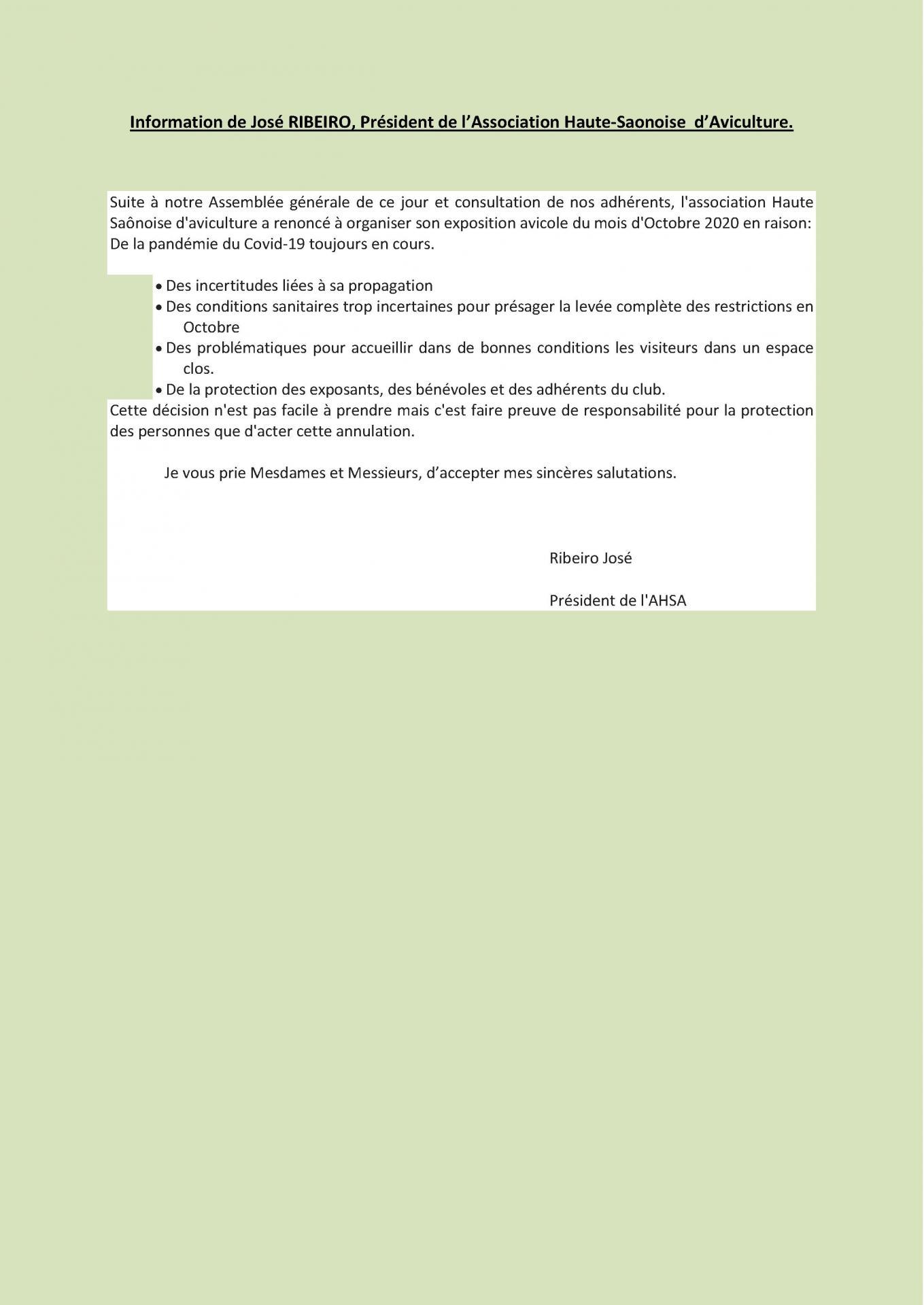 Information de jose ribeiro president de l ahsa
