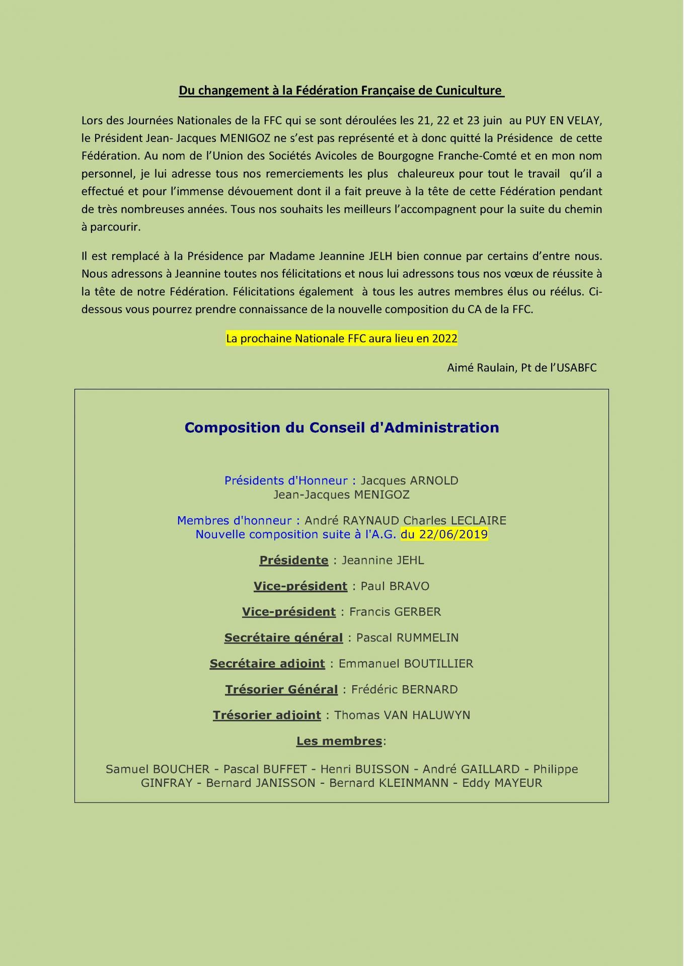 Information ffc pour le site de la region